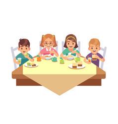 Kids eat together children eating dinner cafe vector