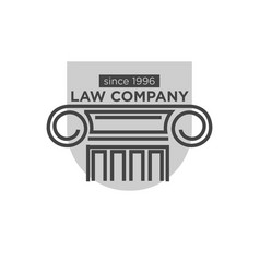 Law company since 1996 logotype with ancient vector