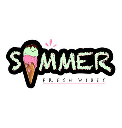 lettering composition of summer with ice cream vector image