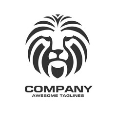 Lion head red color logo vector