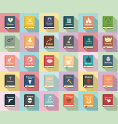 literary genres icons set flat style vector image