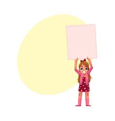 little girl child kid holding blank empty poster vector image