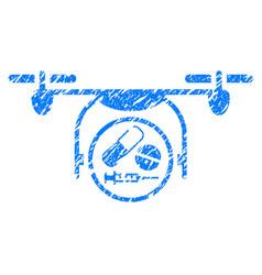 Medication quadcopter grunge icon vector
