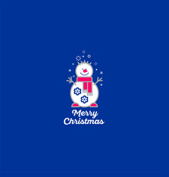 merry christmas snowman icon vector image