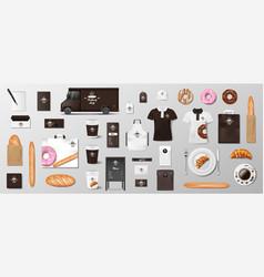 mockup set for bakery shop cafe restaurant brand vector image