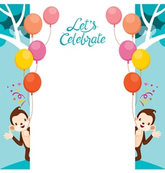 Monkey With Celebration Frame vector