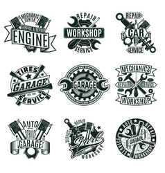 Monochrome car repair service logos set vector