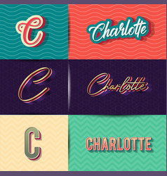 Name charlotte in various retro graphic design vector