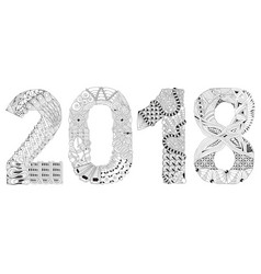 Number 2018 entangle decorative object vector