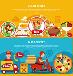 Order pizza online banners vector