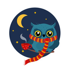 owl with a mug of coffee on branch vector image