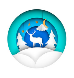 paper winter deer fir moon cloud vector image