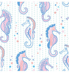 pastel pink seahorses drawing detailed for girls vector image