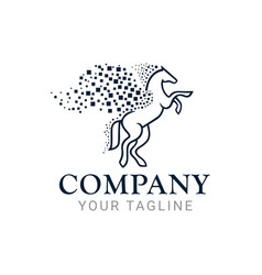 pegasus horse tech logo design template vector image