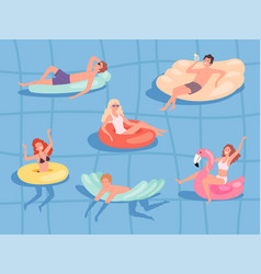people floating pool summer relax at sea boys and vector image