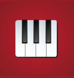 piano keys icon with drop shadow vector image