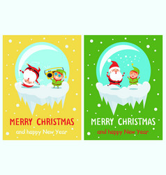 postcard merry christmas happy new year santa elf vector image