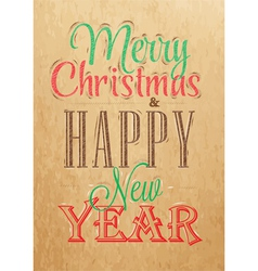 Poster Merry Christmas Happy Kraft color vector