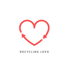 recycle heart arrow sign love icon vector image