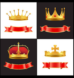 Royal gold crown with jewel and red ribbons decor vector