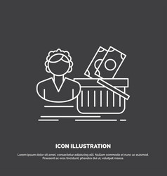 salary shopping basket shopping female icon line vector image