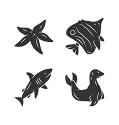 sea animals glyph icons set starfish vector image