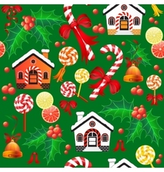 Seamless pattern of Christmas Candy Cane bell vector