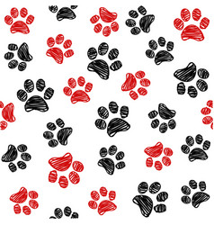 seamless pattern with doodle dog paws vector image