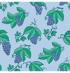 seamless pattern with grape and leaves vector image