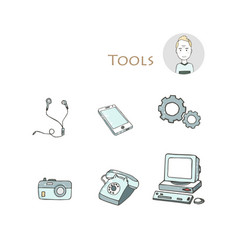 set hand drawn electorinc gadget icons with pc vector image