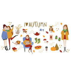set of cute autumn animals plants food and vector image