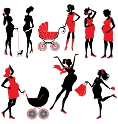 Set of pregnant woman Silhouettes in black and vector