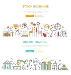 Stock market linear banners vector