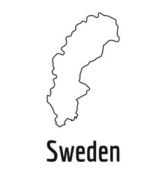 Sweden map thin line simple vector