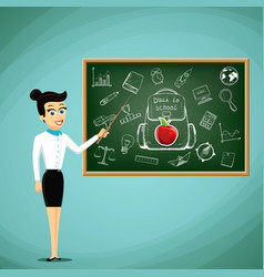 Teacher stand next to the blackboard vector