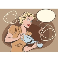The waitress pours tea pastel retro colors vector image