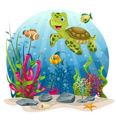 Turtle and fish in the sea vector