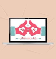 Valentine card with greeting with like vector
