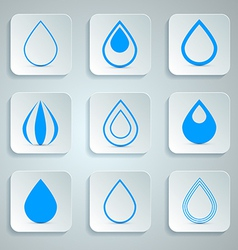 Water Drops Icons Set vector image