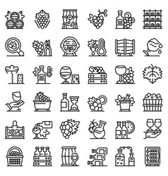 Winemaker icons set outline style vector