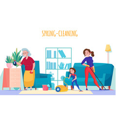 Women cleaning home vector