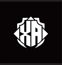 Xa logo monogram with shield line and 3 arrows vector