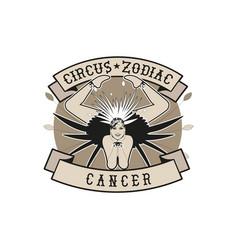 Zodiac circus emblem cancer sign contortionist vector