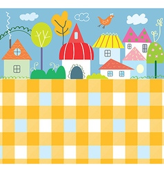 Background for kids with town and pattern - funny vector image