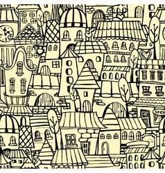 Cartoon town seamless pattern vector image