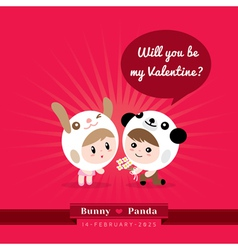 Cute kawaii characters with Valentines concept vector image vector image