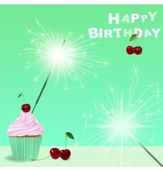 Invitation to the birthday party with a cupcake vector image
