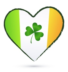 Isolated heart with green cliver and Irish flag vector image vector image