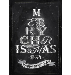 Poster Tree Christmas Happy chalk vector image vector image