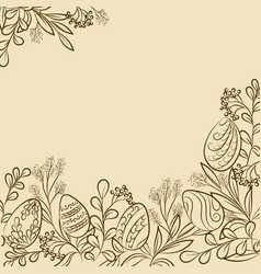 easter plants frame vector image vector image